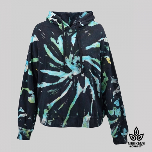 Sprial Tie-Dye Cotton Drawstring Hoody with Ribbed Cuffs