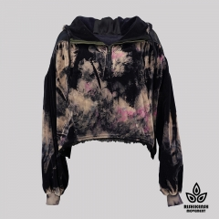 Tie-Dyed Cropped Cut Drawstring Hoody